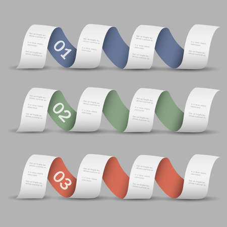 Three numbered ribbons-banners  Modern design template  Vector