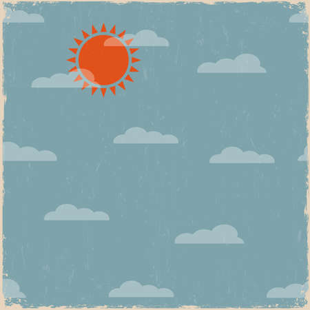 Sky with clouds and sun. Vector vintage background  Vector