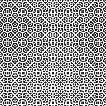 oriental: Black and white islamic seamless pattern background