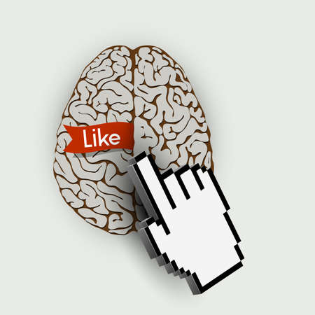 Human brain with link selection hand computer cursor    concept