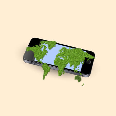Mobile phone with stylized green world map  Conceptual Stock Vector - 20977419