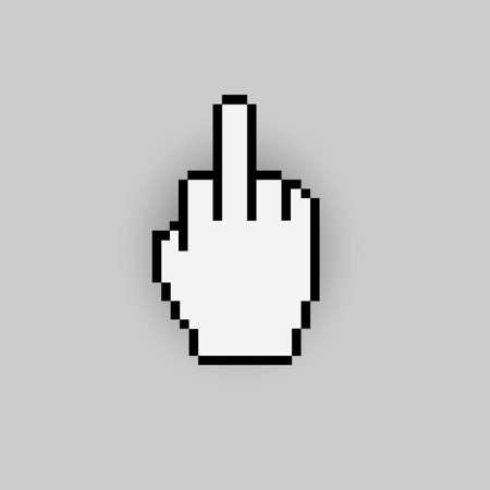 antisocial: Pixelated gesture hand like - negative icon  Illustration