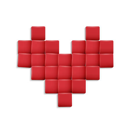 3d Heart from red squares illustration Vector
