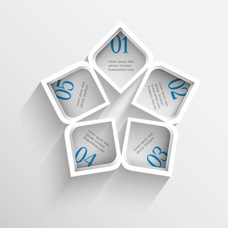 3d modern white Design template for infographics.  Vector