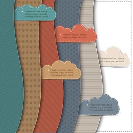Textured paper banners with clouds .Vector background