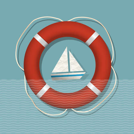 Lifebuoy and paper sailboat  Nautical vector illustration Vector