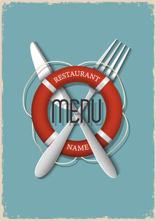 Retro Menu design for seafood restaurant - variation 3  Vector illustration  Stock Vector - 21397092