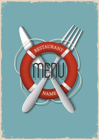 Retro Menu design for seafood restaurant - variation 3  Vector illustration Stock Vector - 21397092