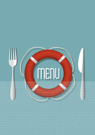 Retro Menu design for seafood restaurant - variation 5  Vector illustration  Stock Vector - 21397094