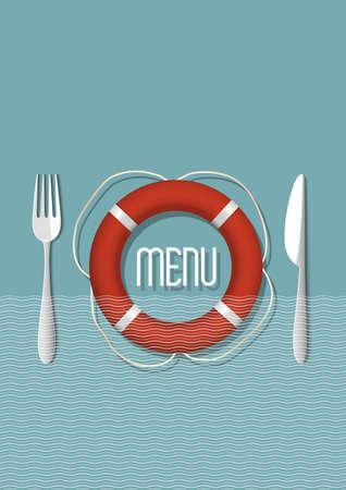 Retro Menu design for seafood restaurant - variation 5  Vector illustration Stock Vector - 21397094