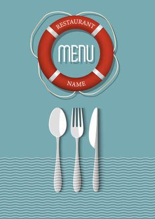 Retro Menu design for seafood restaurant - variation 6  Vector illustration  Stock Vector - 21397095