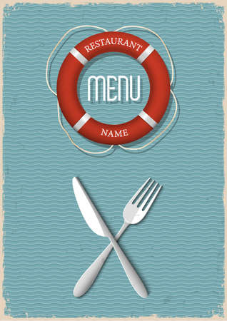 Retro Menu design for seafood restaurant-variation 2  Vector illustration  Stock Vector - 21397096