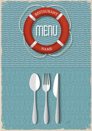 해산물 레스토랑 벡터 일러스트 레이 션의 복고풍 메뉴 디자인 - 변화 1