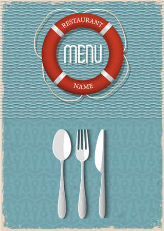 Retro Menu design for seafood restaurant  Vector illustration - variation 1
