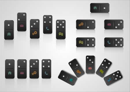 Set of creative web design with domino blocks   Vector EPS10 Stock Vector - 21397098