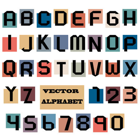 Alphabet letters and numbers. Vector set Vector