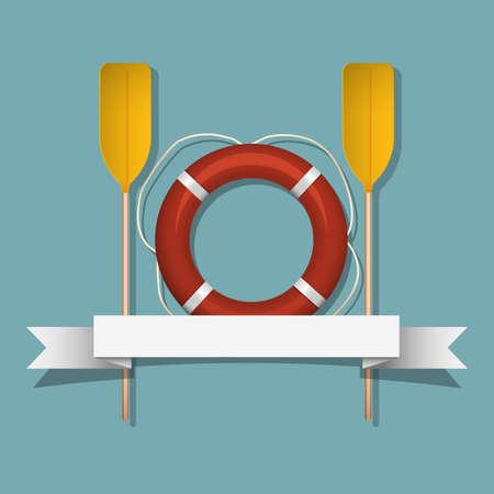 lifebouy: Lifebuoy and paddles  Vector illustration