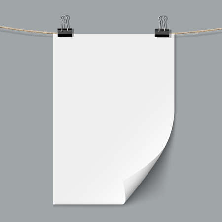one sheet: Blank paper sheet. Vector template