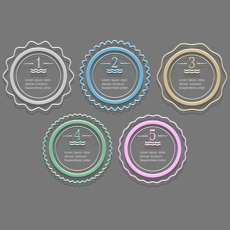Round banners-options for infographics design. Vector set