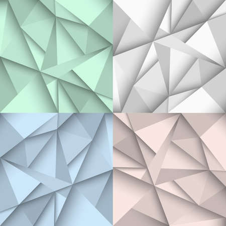 scrunch: Origami backgrounds in four colors. Vector set