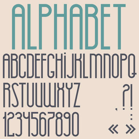 Retro font, numbers and punctuation marks. Vector set  Vector