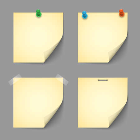 Yellow notice papers with pins  Vector
