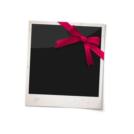 photoframe: photo frame with bow red ribbon.