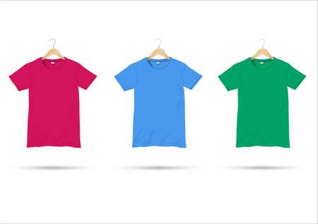 shirt hanger: Tshirts on hangers.