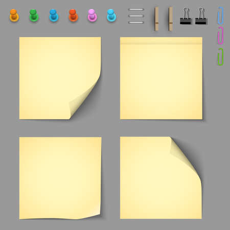 Yellow notice papers with elements for attaching paper.  Vector