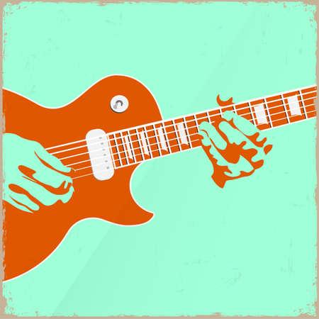 Creative guitar player. Vector illustration