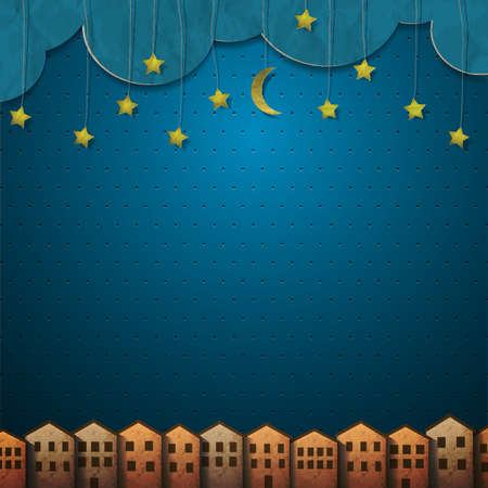 Homes and moon with stars from paper.  Vector