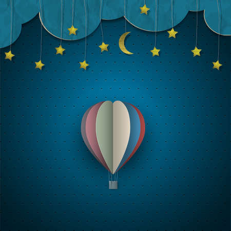 night: Hot air balloon and moon with stars. Vector paper-art