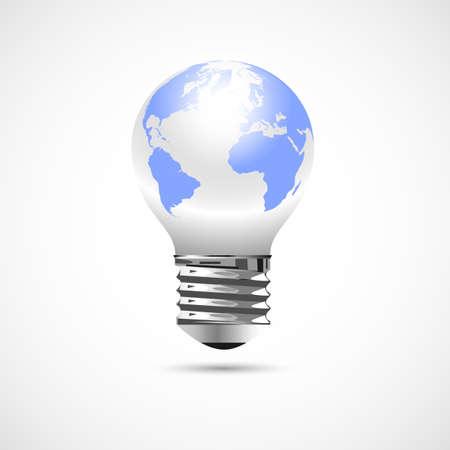 Light Bulb with Earth Globe. Vector concept Stock Vector - 21947252