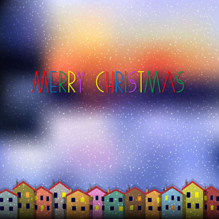 Christmas card with colorful houses  Vector paper-art  Vector