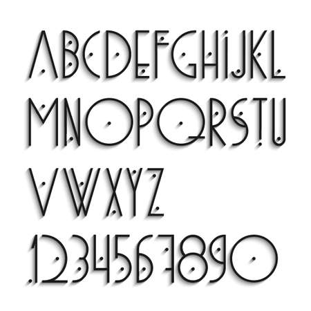 Elegant alphabet letters and numbers with shadow  Vector set  Vector