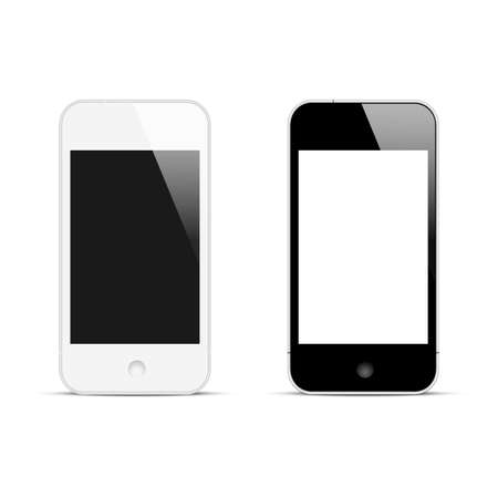 Modern smartphones with blank screen  Vector illustration Vector