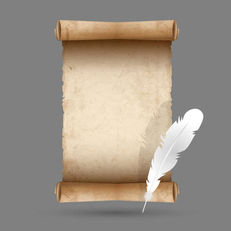 Old scroll paper with feather  Vector EPS10