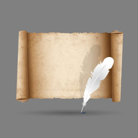 Ancient scroll paper with feather.  Vector