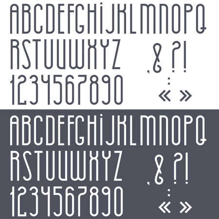 Black and white alphabet,numbers and punctuation marks. Vector set  Vector