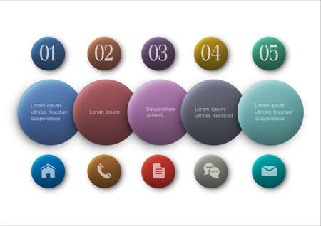 infocharts: Buttons options - infographics and web design.