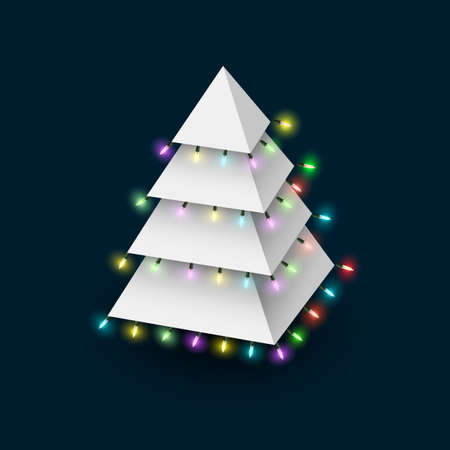 Christmas tree formed pyramide with luminous garland.   Vector