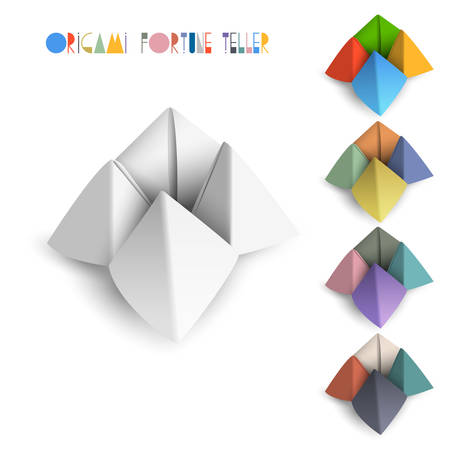 fortune: Colorful origami Fortune Teller  Vector set