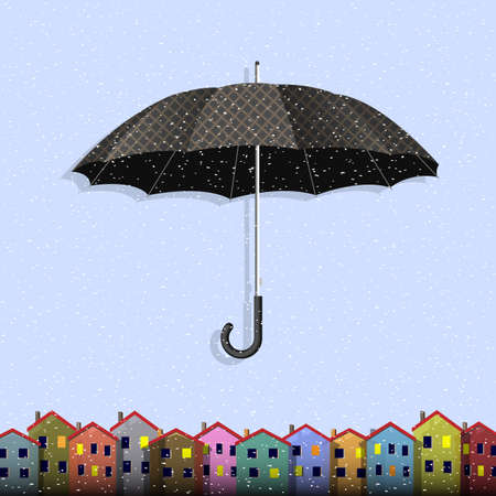 Umbrella in blizzard with colorful paper homes  Vector card Vector