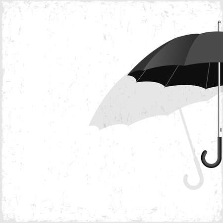 weatherproof: Vector black umbrella on grunge background Illustration
