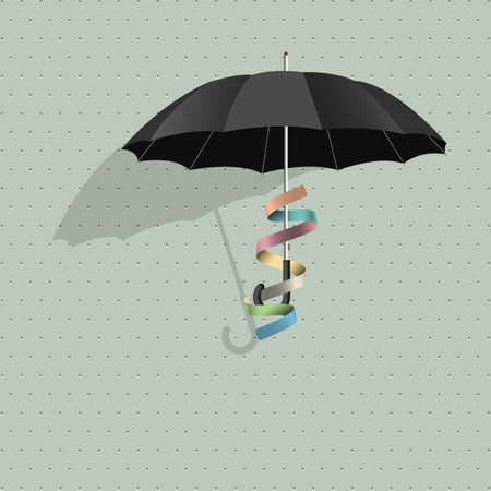 Vector black umbrella with colorful ribbon Stock Vector - 22681622