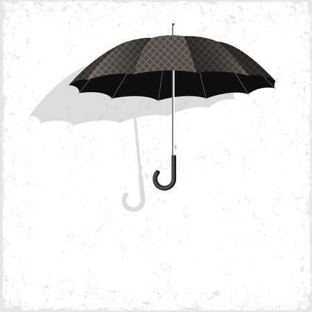 weatherproof:  Vector classical umbrella on grunge background