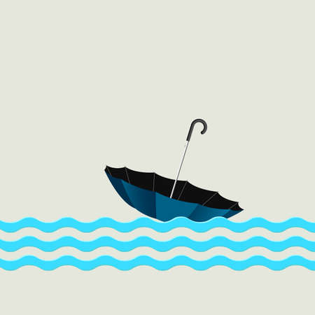 Blue umbrella on waves. Creative vector illustration Vector