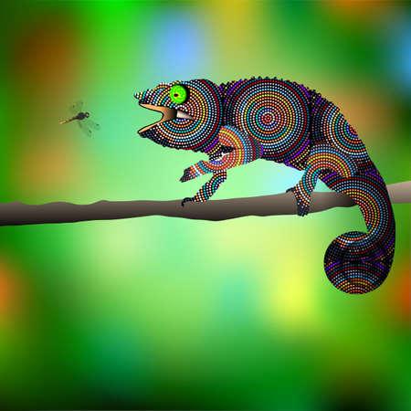 chameleon lizard: Chameleon and dragonfly. Vector illustration