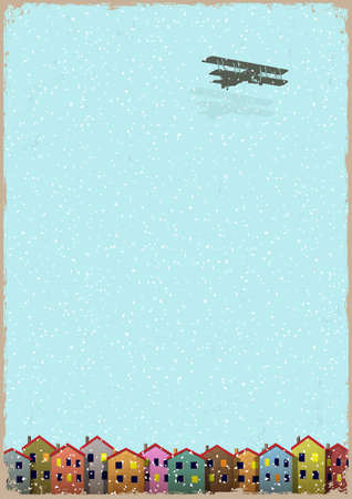 Paper little town with aeroplane winter. Retro style vector illustration Vector