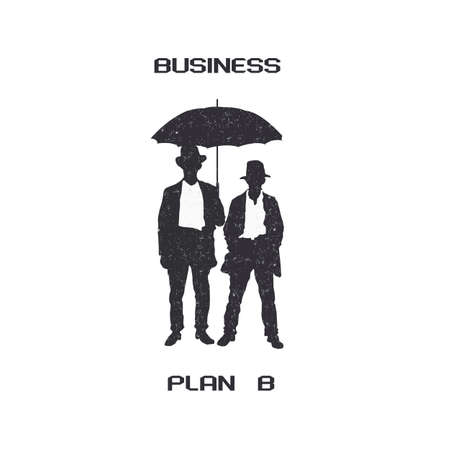 Silhouettes of retro businessmen with umbrella. Vector EPS10 Vector